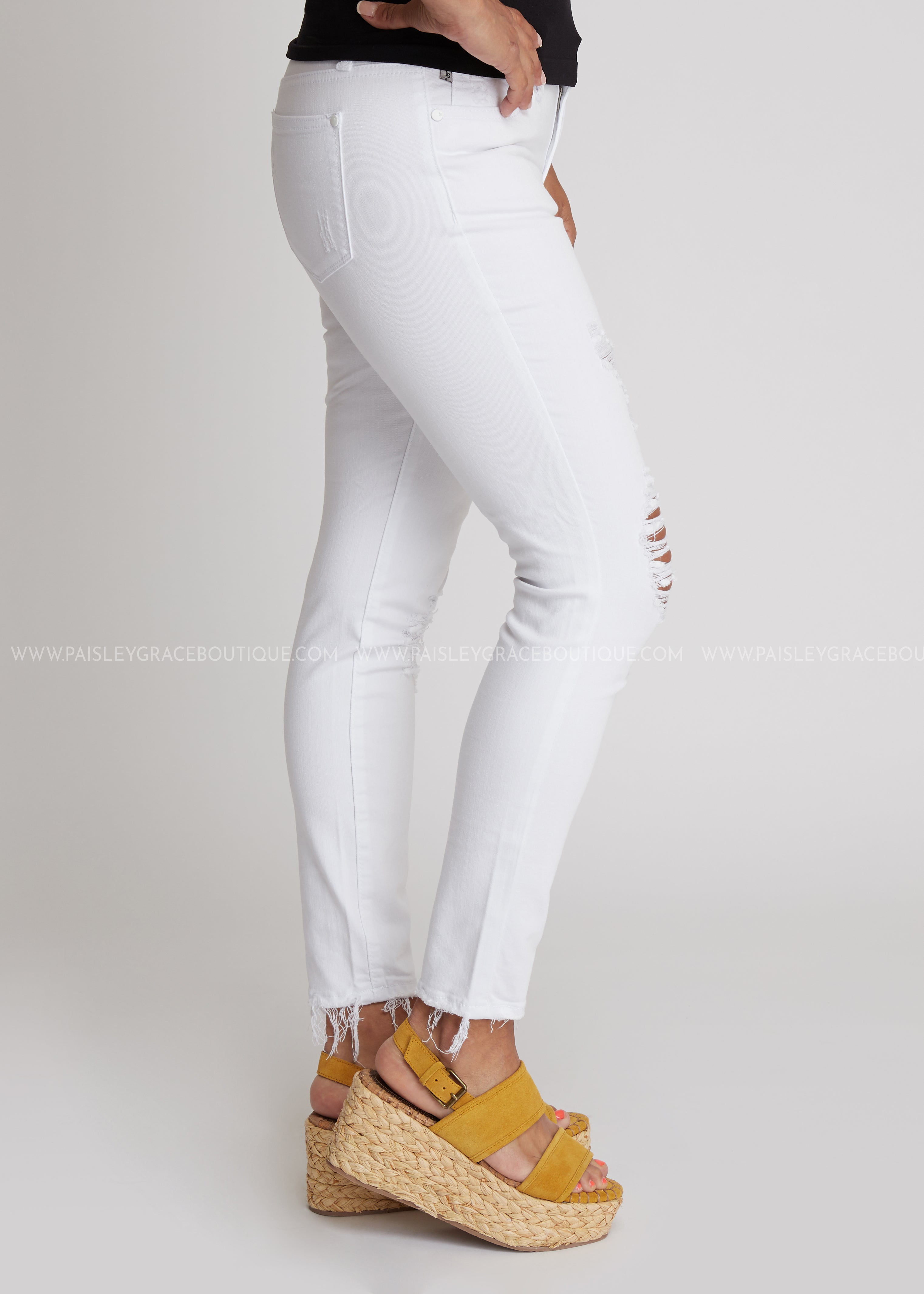 Roxie Distressed White Jeans