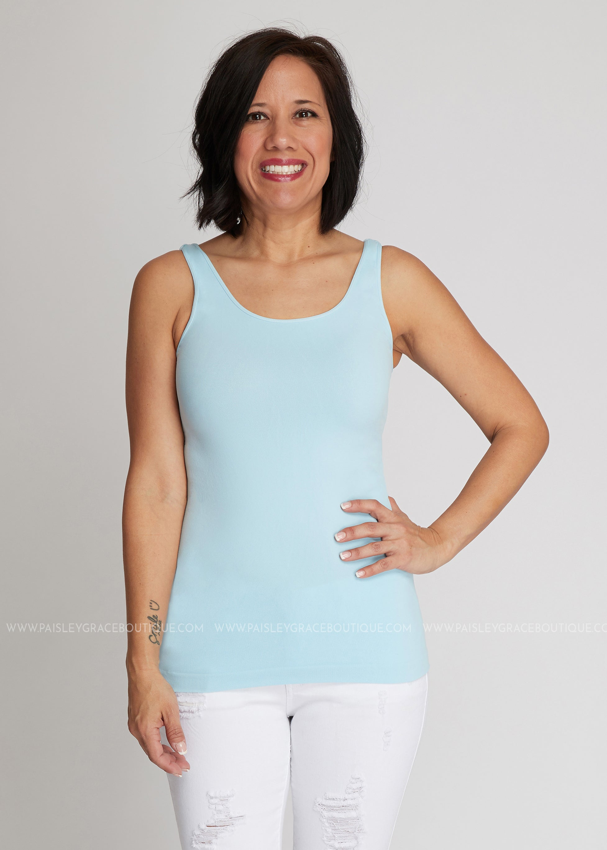 Luxe Wide Strap Tank Top/Cami - SKY BLUE (REG & PLUS)-RESTOCK