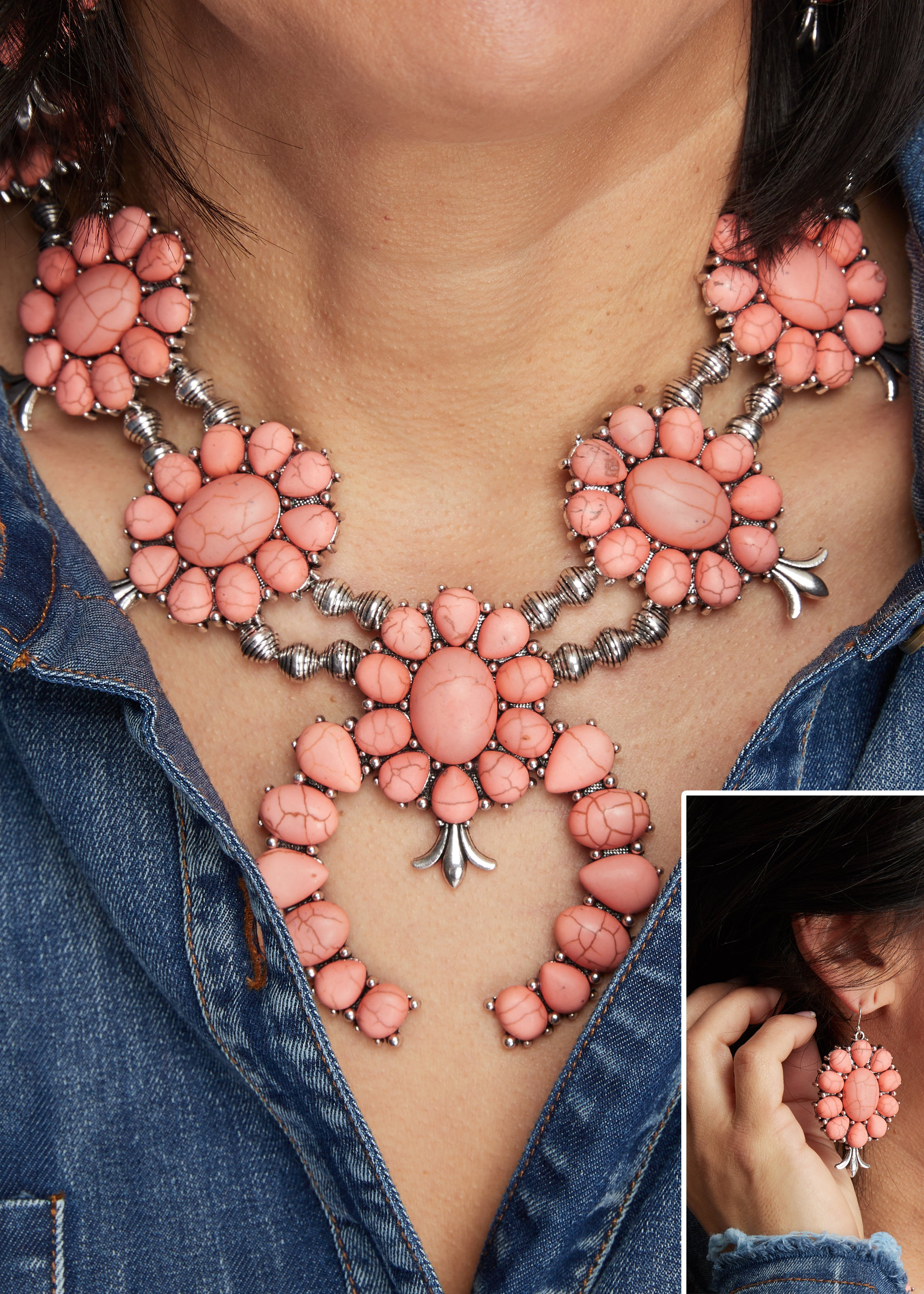 Pink Squash Blossom Necklace w/Earrings