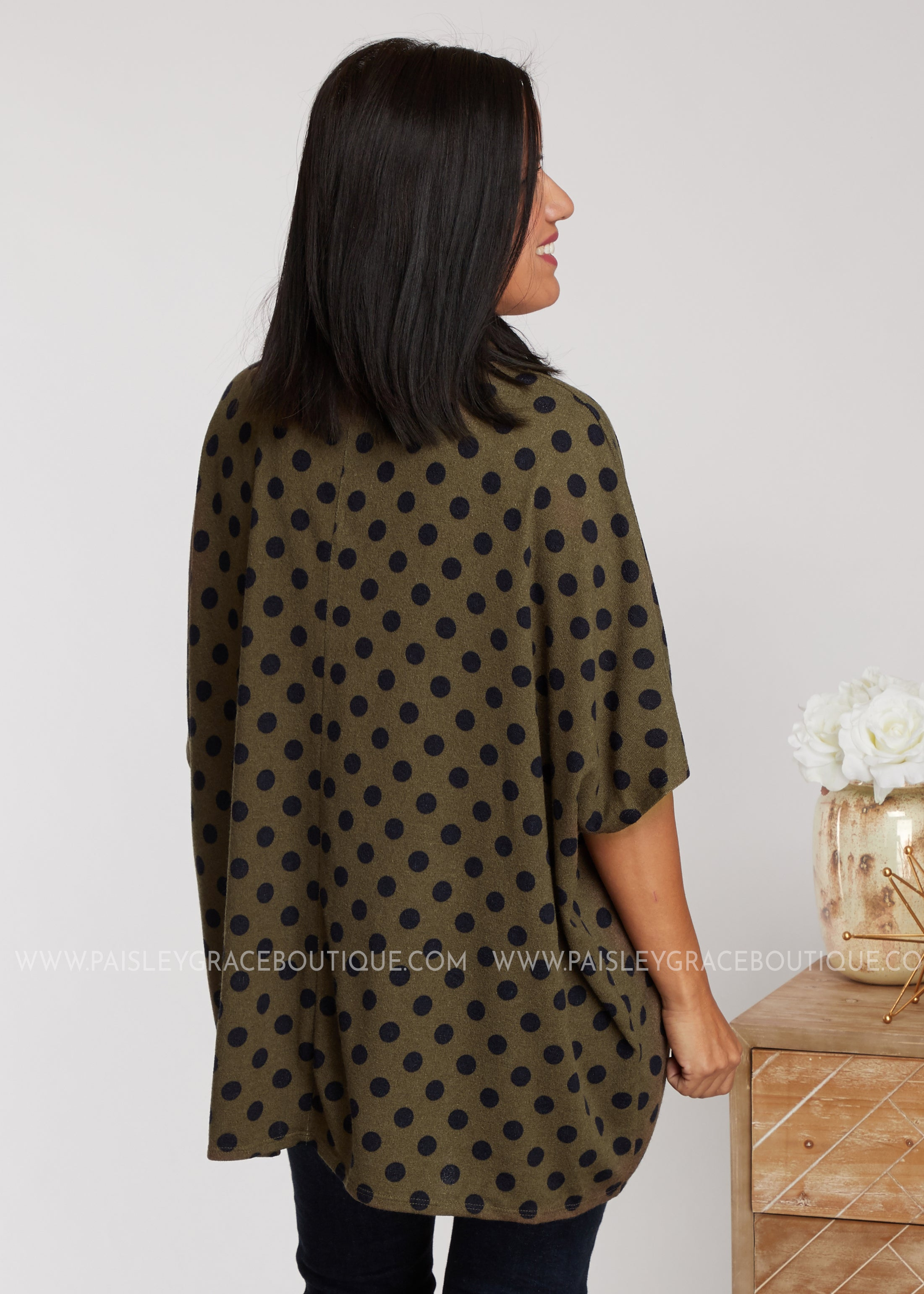 Dot My Attention Top- Olive - FINAL SALE