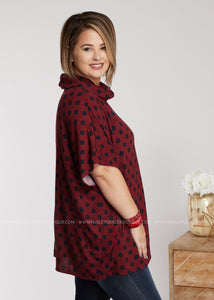 Dot My Attention Top- Burgundy - FINAL SALE