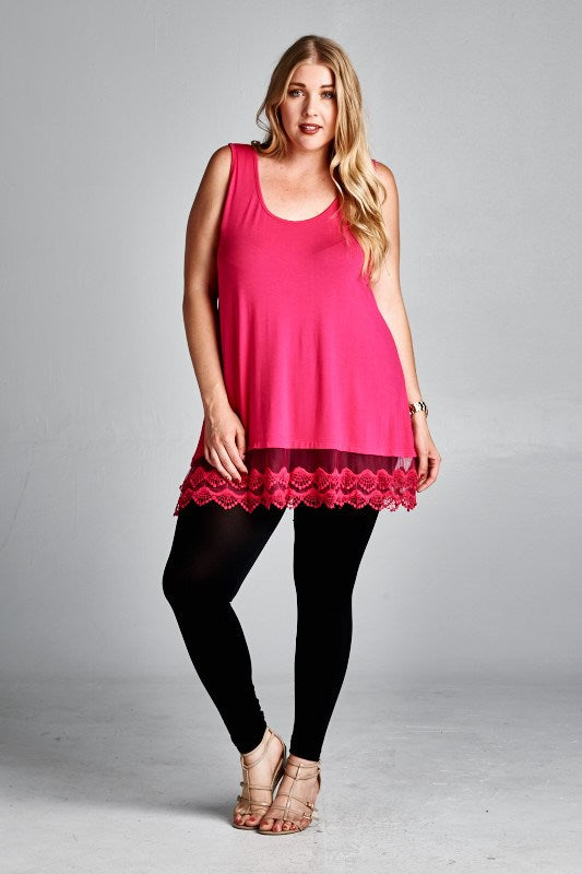 Emory Tunic Extender-HOT PINK-FINAL SALE