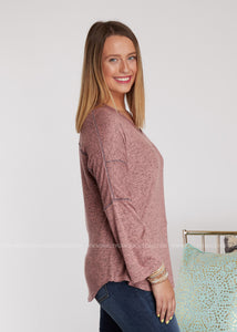 Natalie Top- HEATHERED MAUVE - FINAL SALE