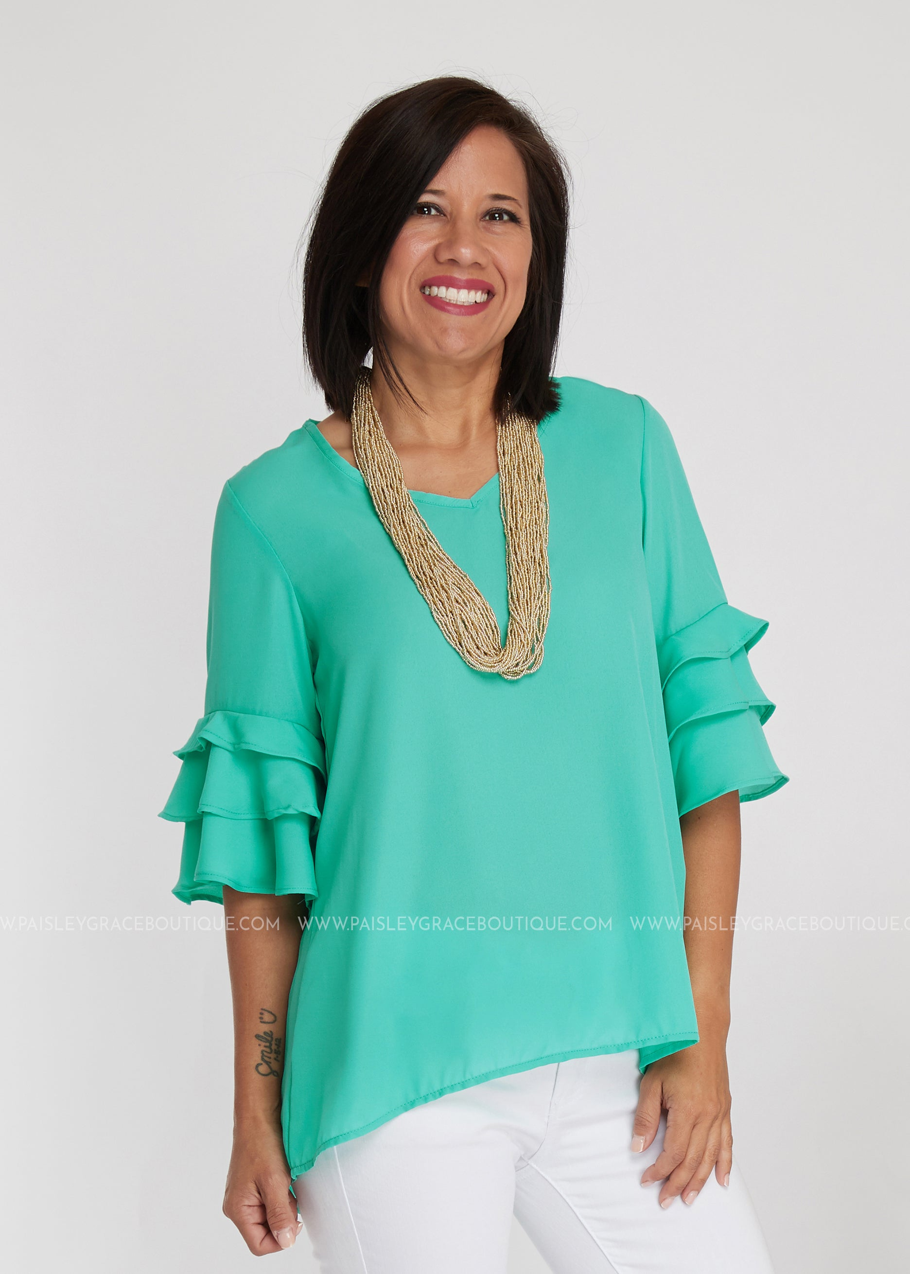 Frill Seeker Top- SEAFOAM - FINAL SALE