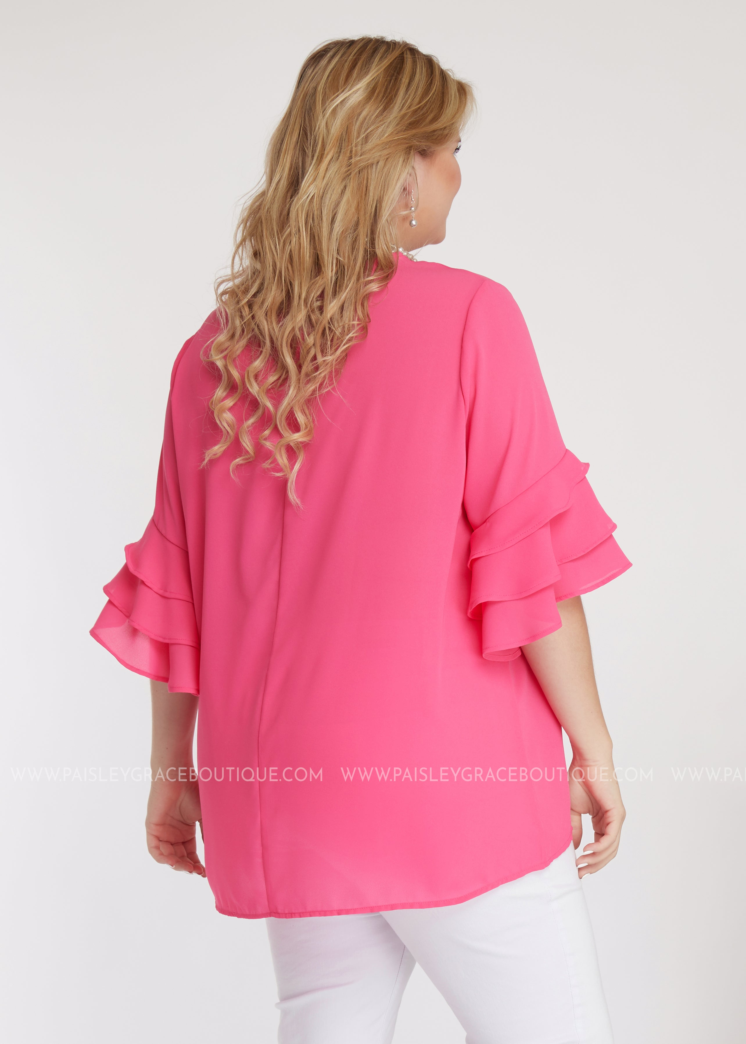 Frill Seeker Top- PINK - FINAL SALE