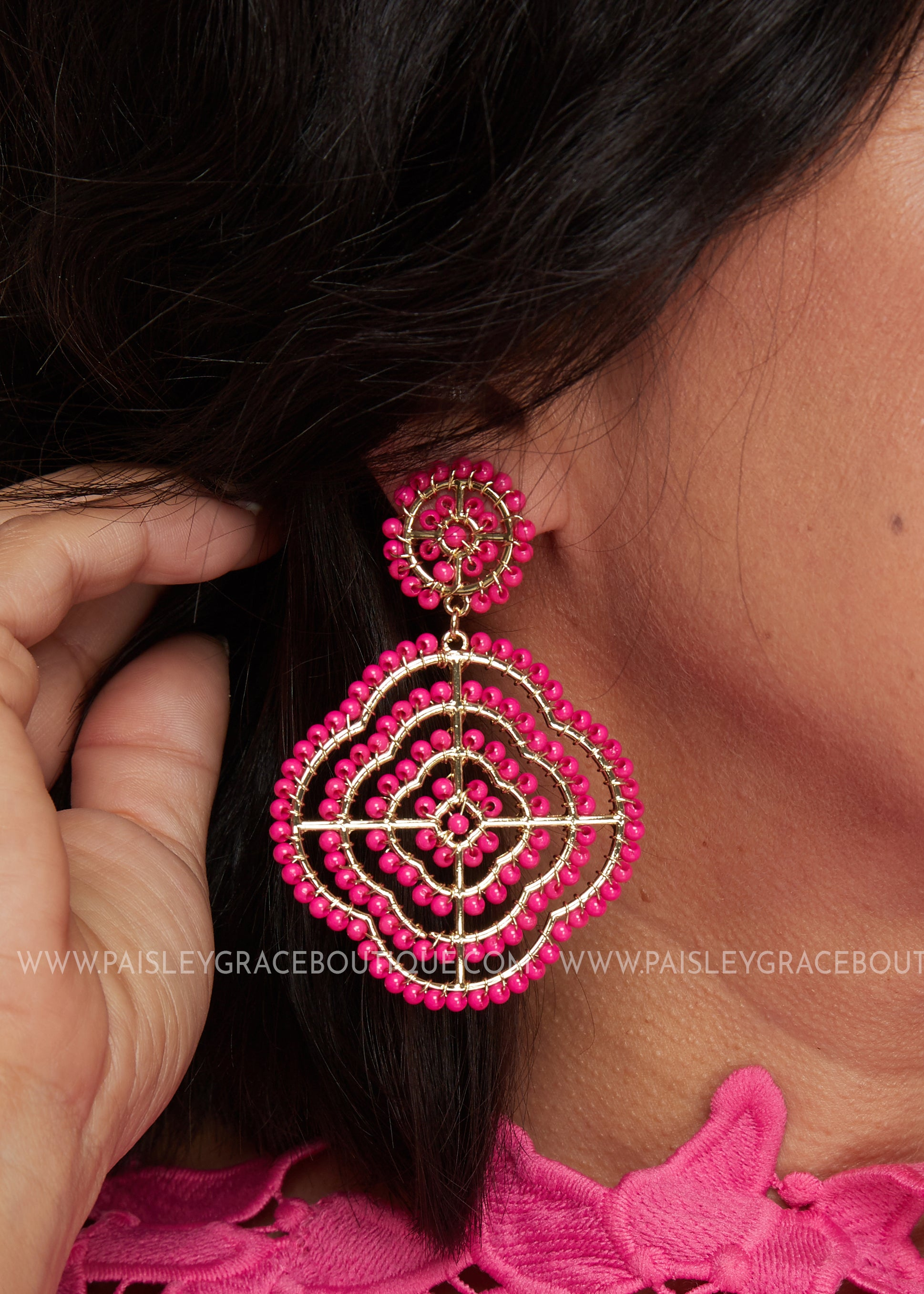 Pasadena Earrings- Hot pink