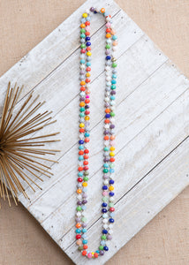 Multi Color Shimmer Strand Necklace