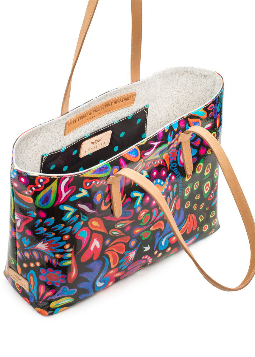 East West Tote- Sophie Black Swirly By Consuela