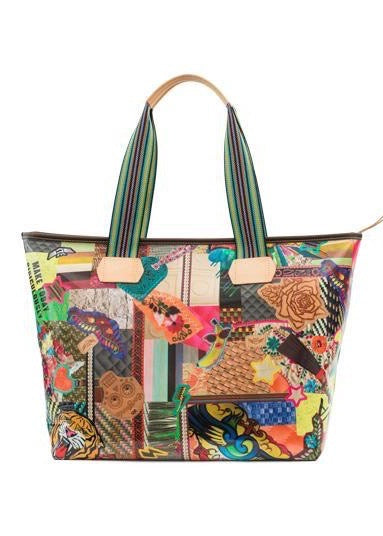 Zipper Tote- Patches By Consuela