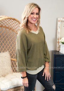 Lyndon Top- OLIVE  - FINAL SALE
