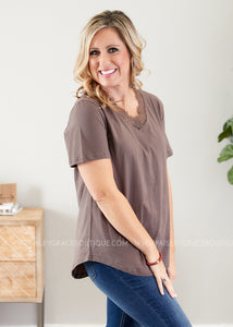 Dahlia Lace Top- MOCHA  - FINAL SALE