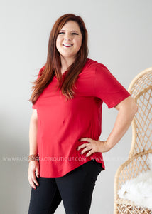 Dahlia Lace Top- RED  - FINAL SALE
