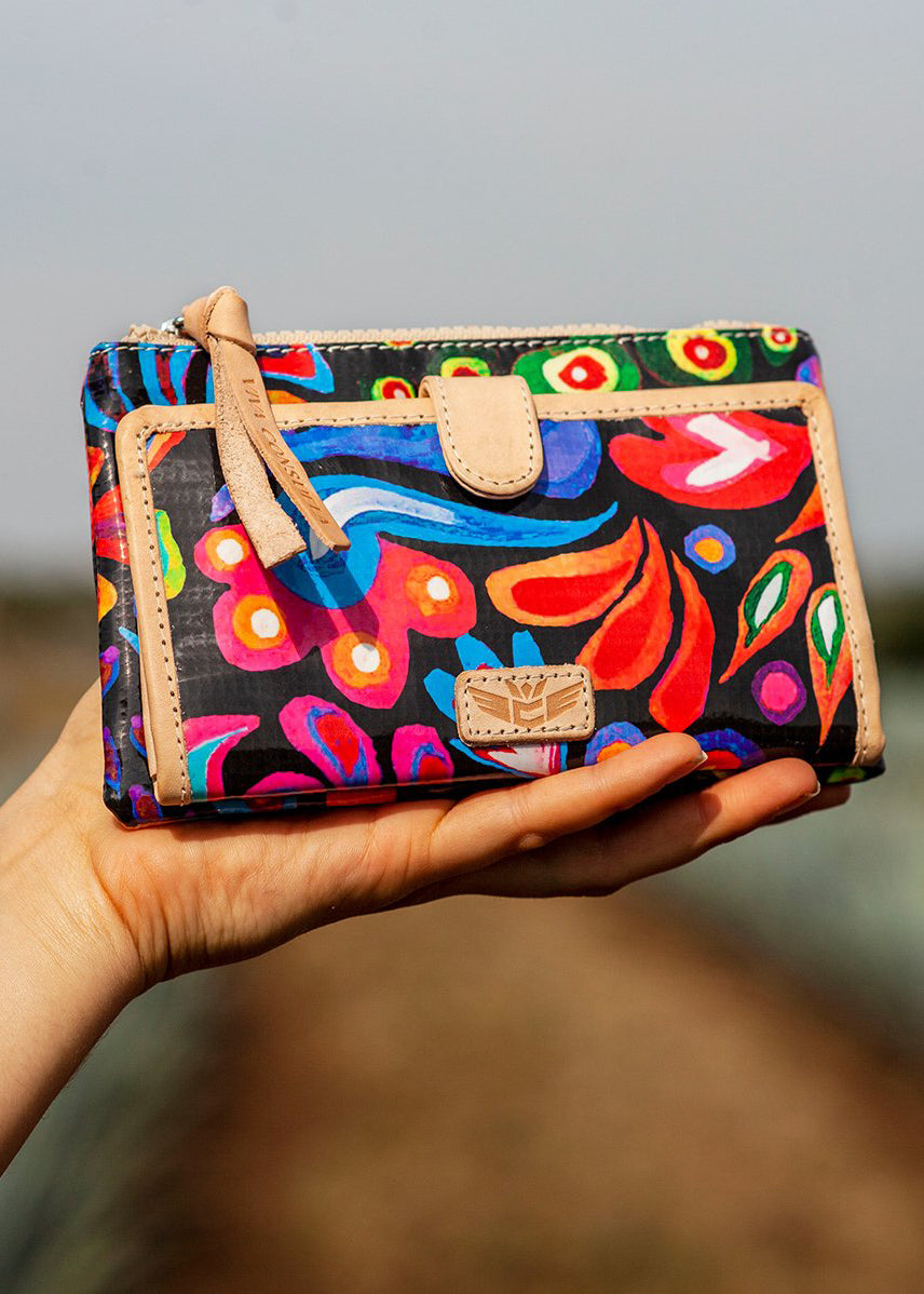 Slim Wallet - Sophie Black Swirly By Consuela