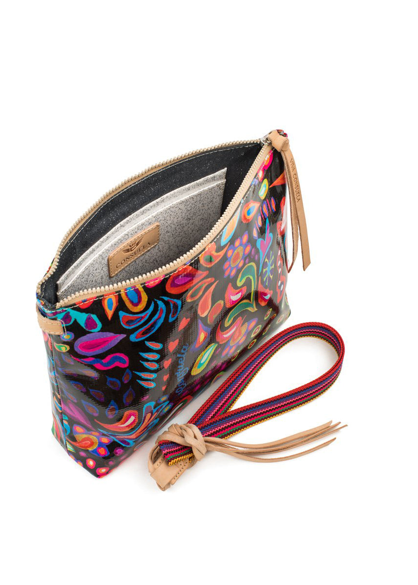 Downtown Crossbody- Sophie Black Swirly By Consuela