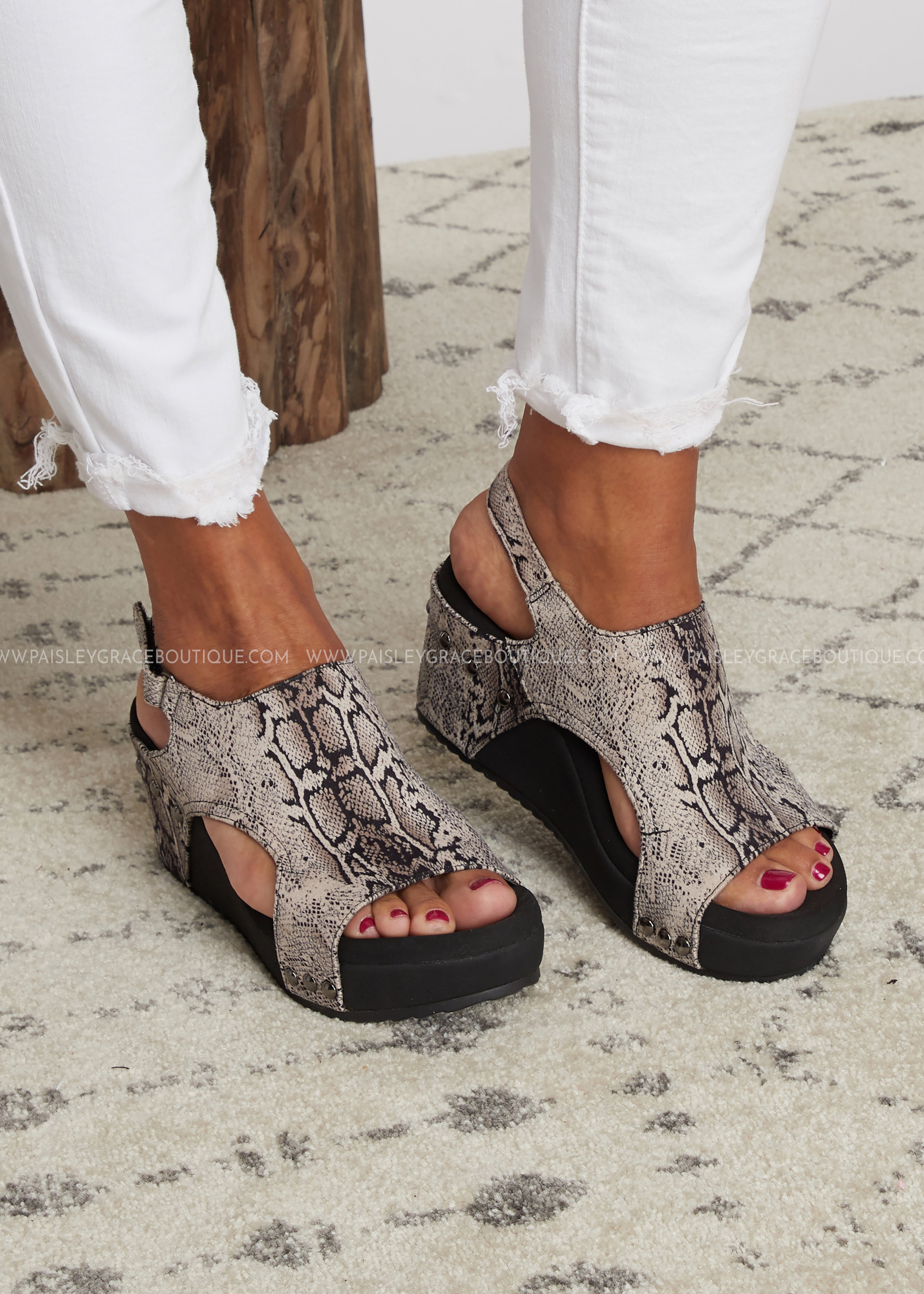 Cabot Wedge by Corkys-BLACK SNAKE- RESTOCK