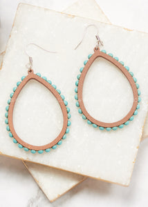 Wood Beaded Hoop Earrings- Turquoise