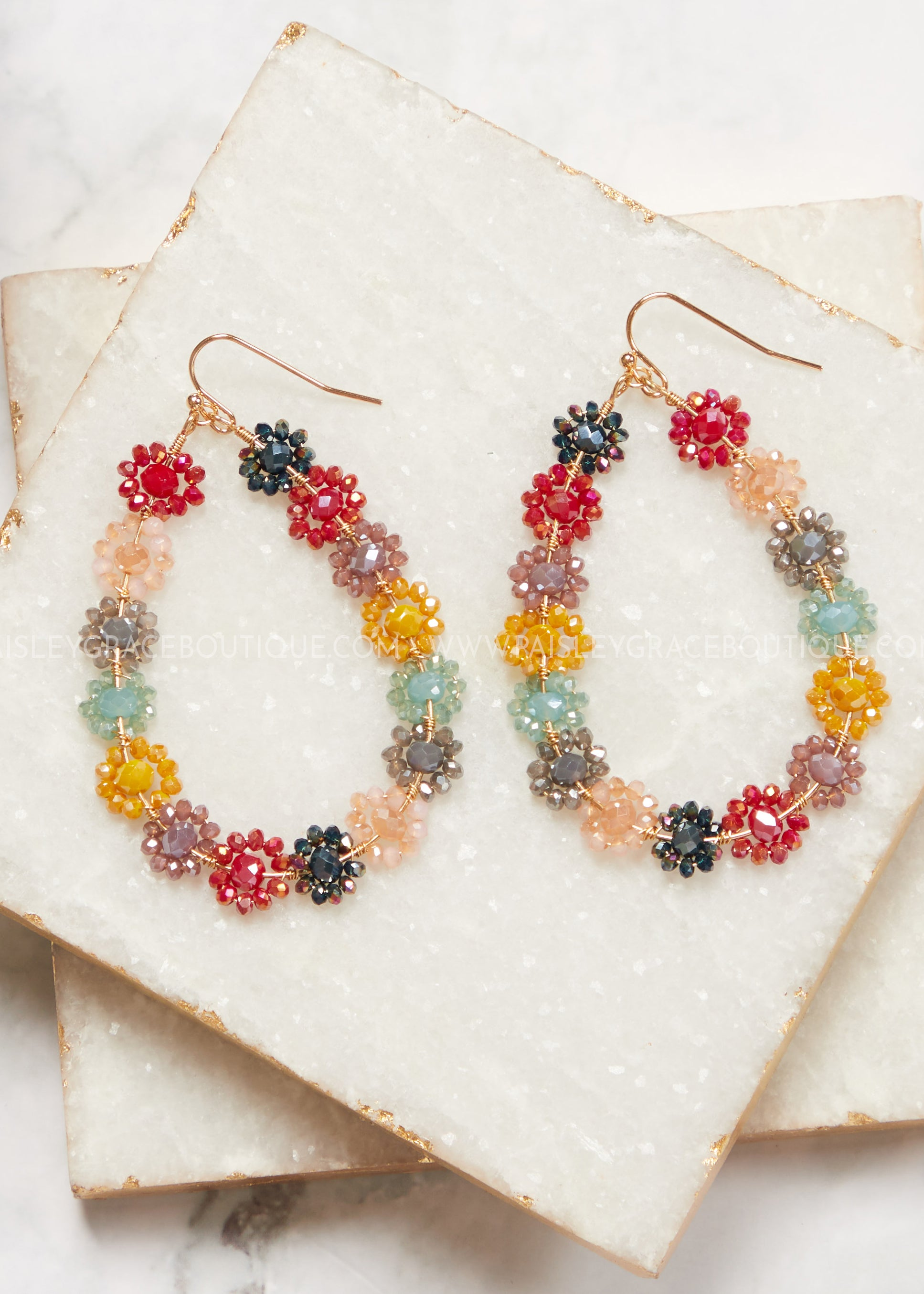 Nora Flower Beaded Teardrop Earrings- Multi