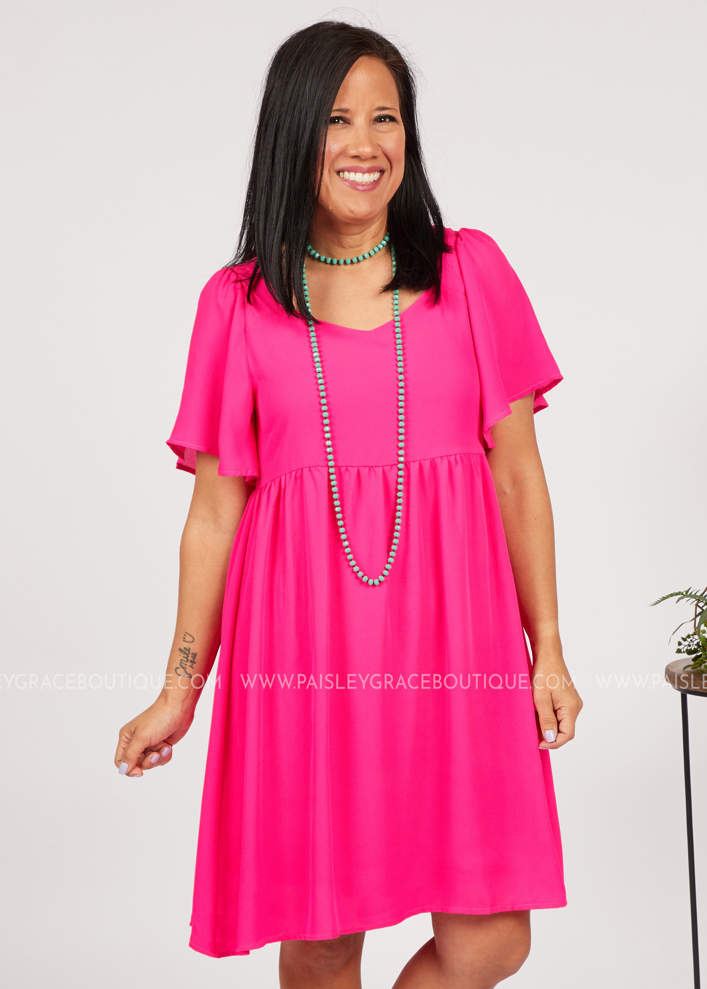 Gia Dress- HOT PINK  - FINAL SALE