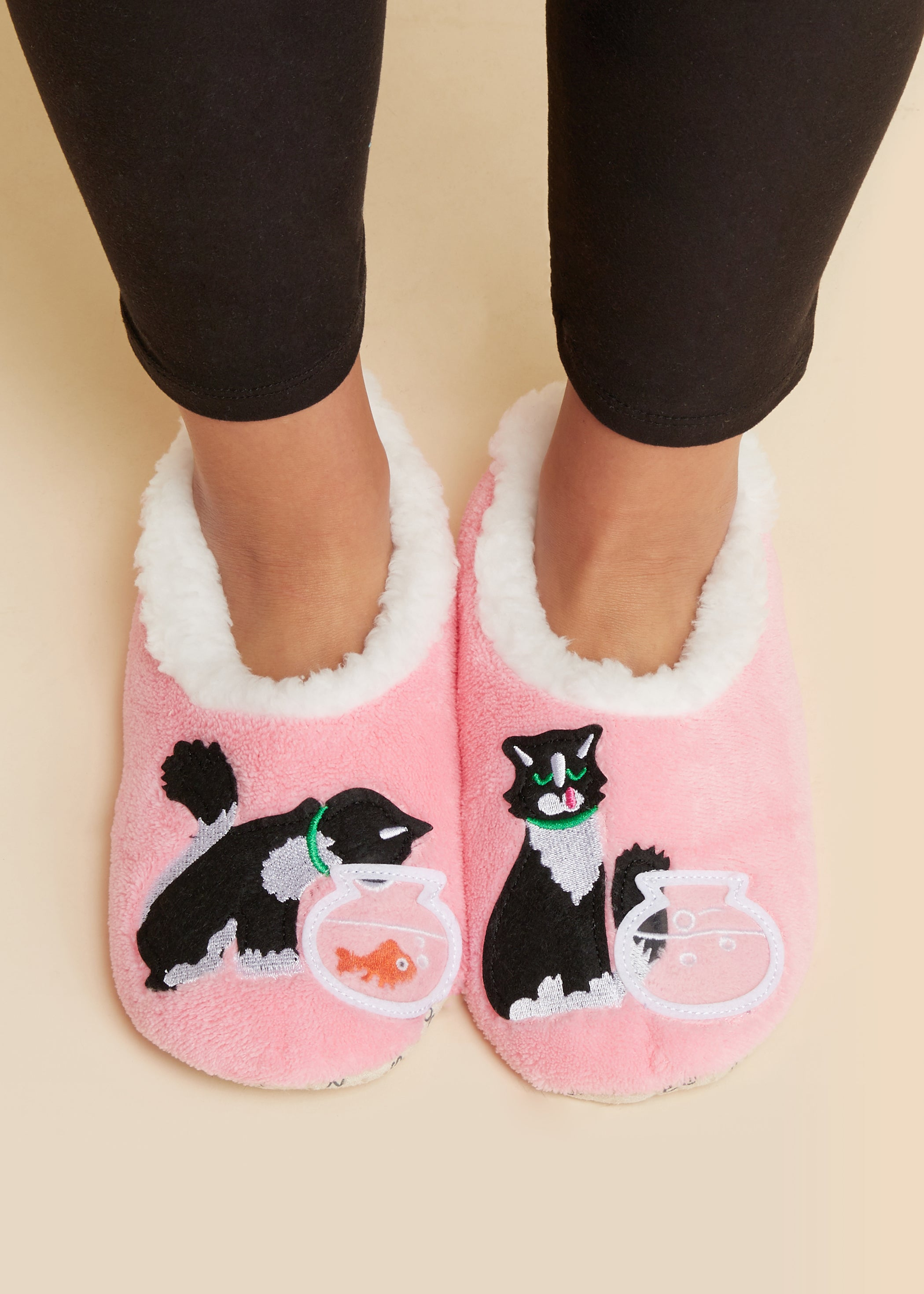 Cat & Fish Bowl-PINK Snoozies Slippers