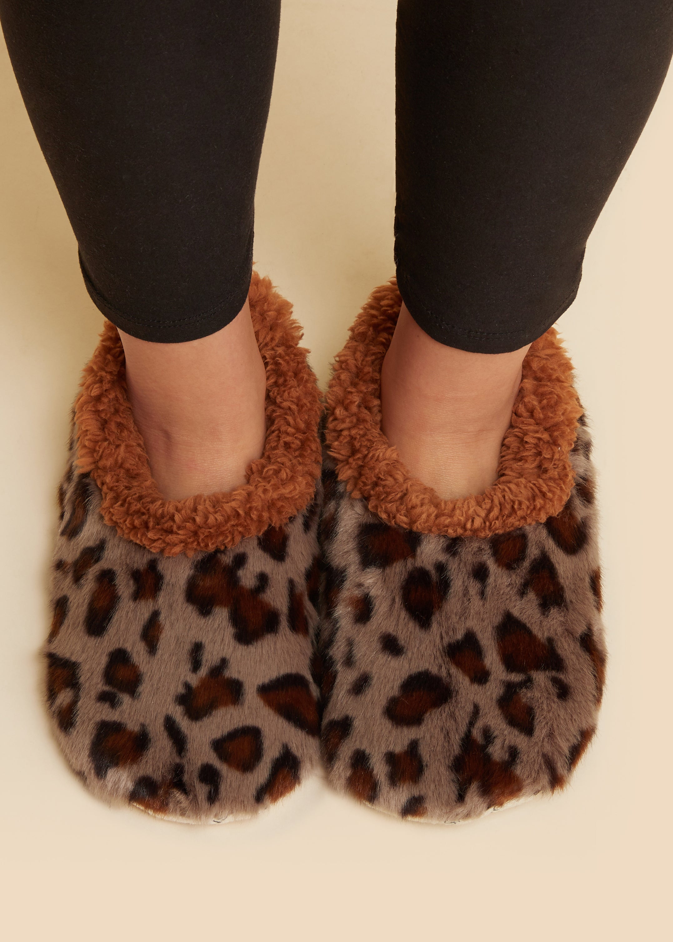 Leopard- GREY Snoozies Slippers