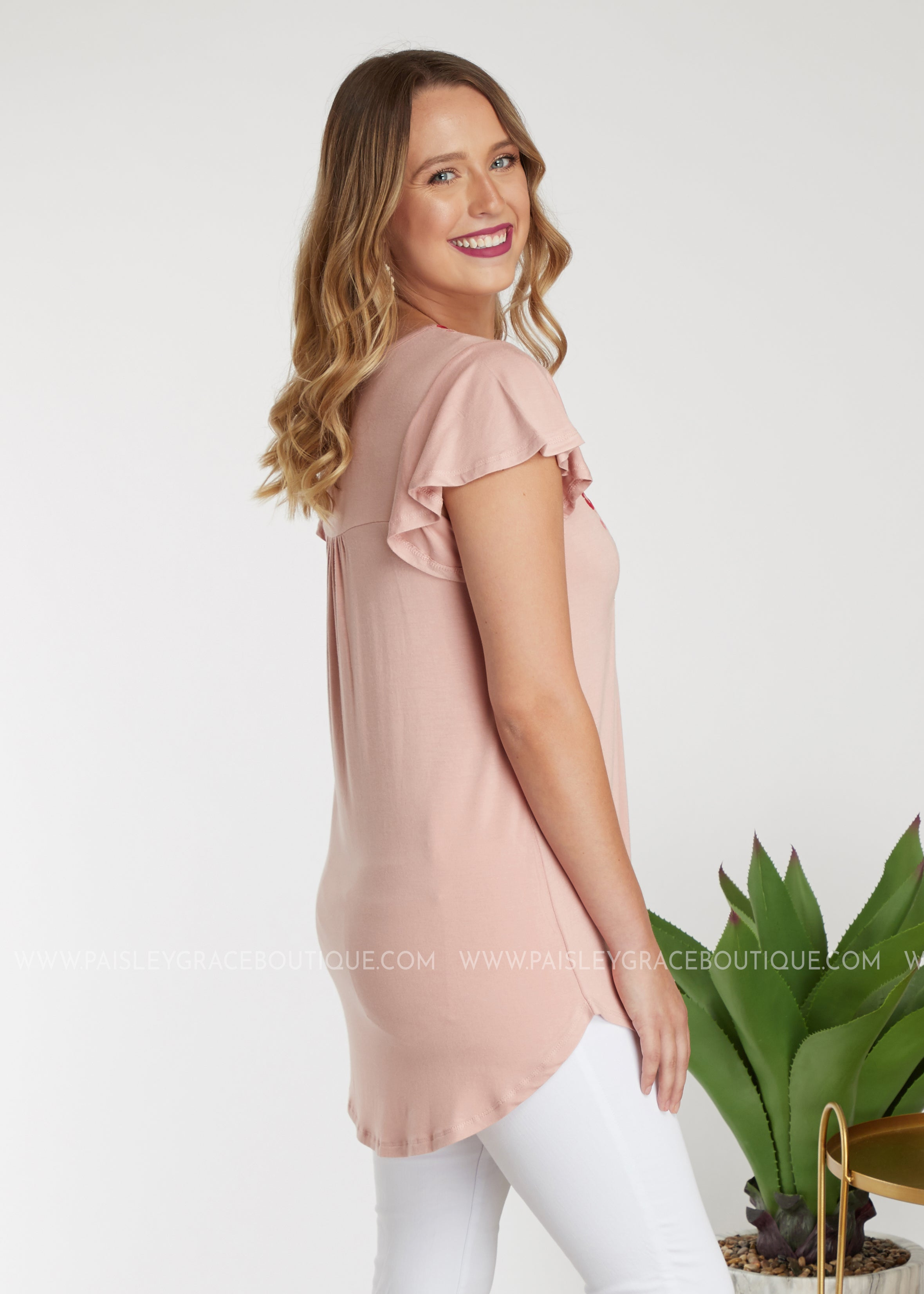 Brynlee Embroidered Top- BLUSH - FINAL SALE