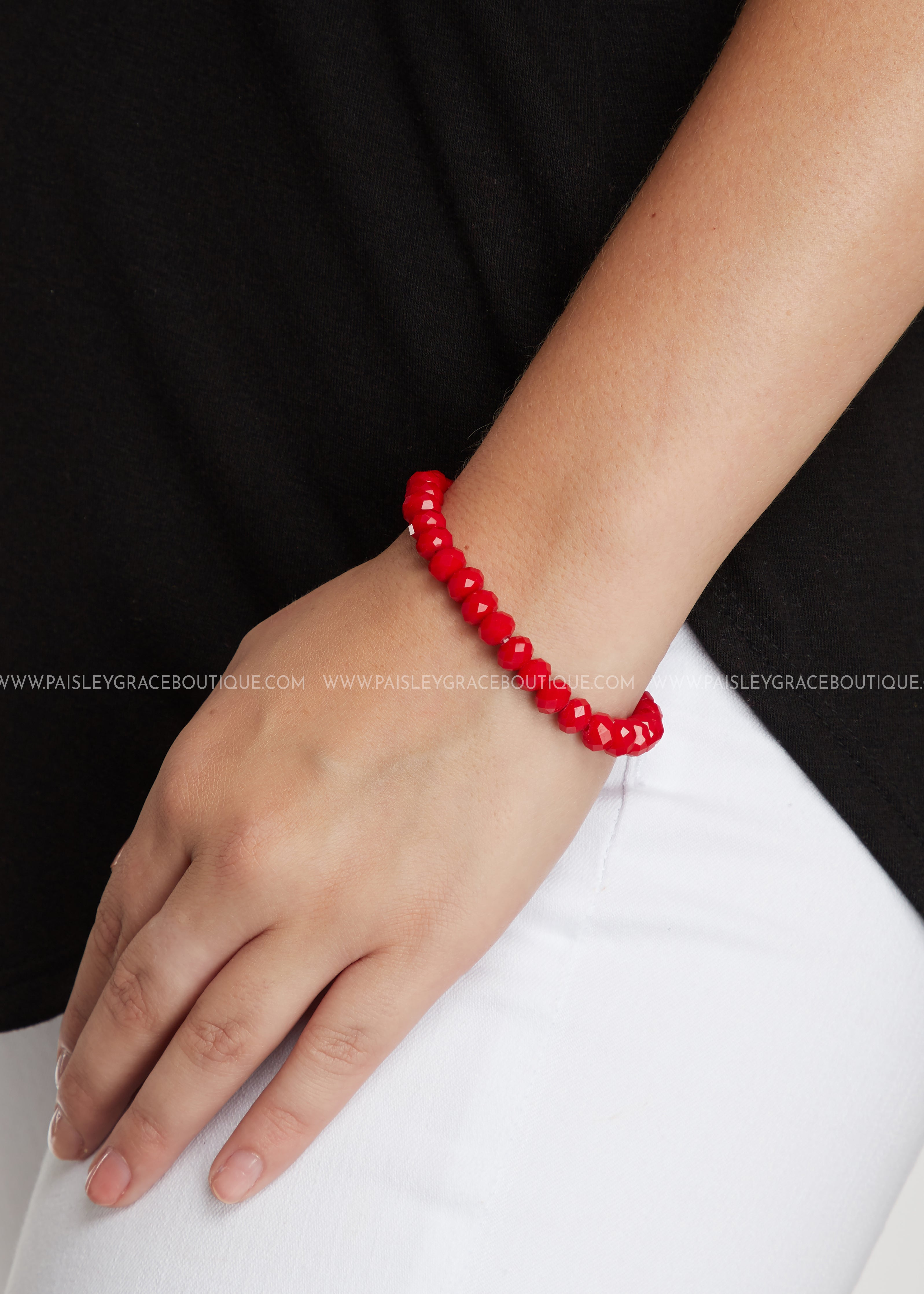 Stretch Layering Bracelet- Red
