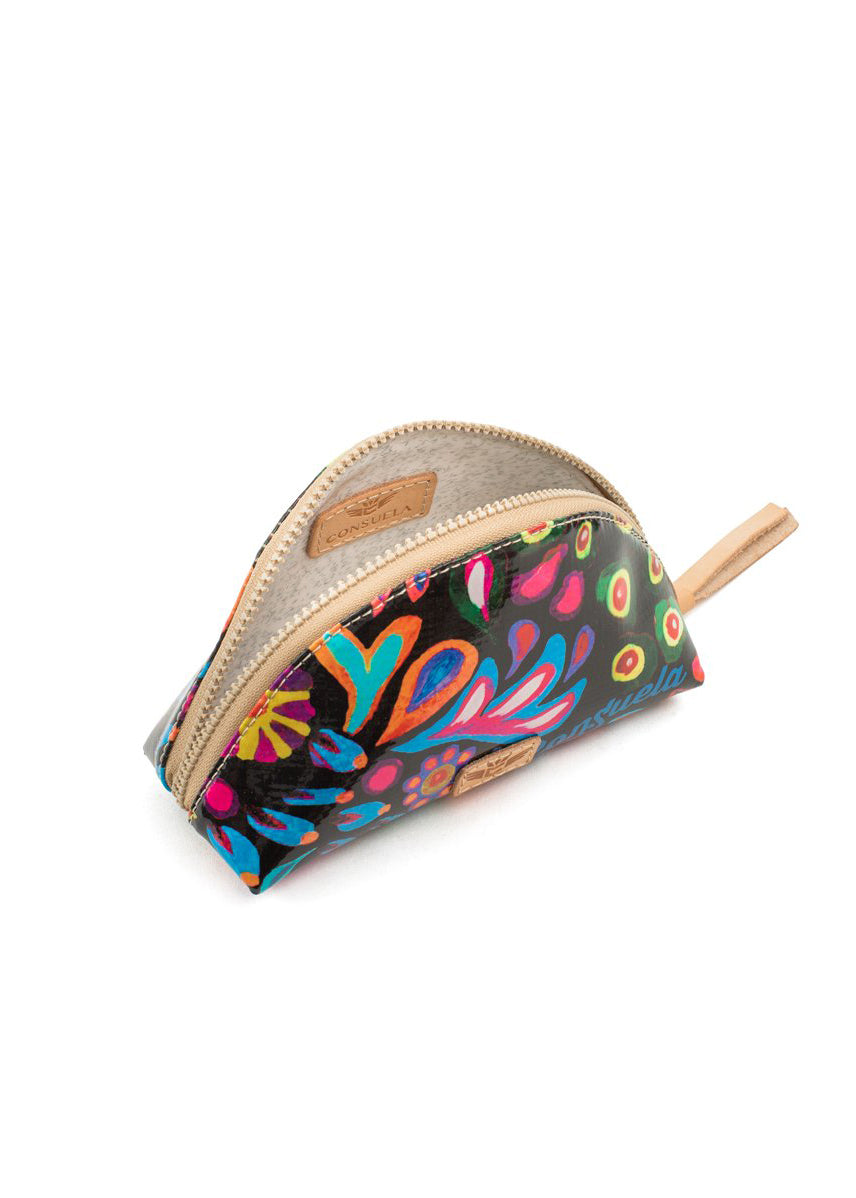 Medium Cosmetic Bag- Sophie Black Swirly By Consuela