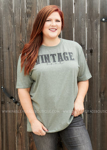 Vintage Soul Tee- MILITARY GREEN.