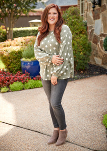 Beckette Polka Dot Top- SAGE
