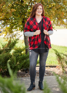 Favorite Tradition Cardigan- RED/BLACK