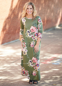 Weekend Away Maxi- OLIVE  - FINAL SALE