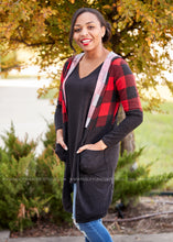 Load image into Gallery viewer, Plaid About You Cardigan- RED  - FINAL SALE