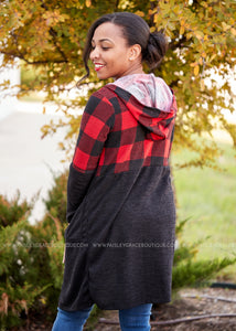 Plaid About You Cardigan- RED  - FINAL SALE