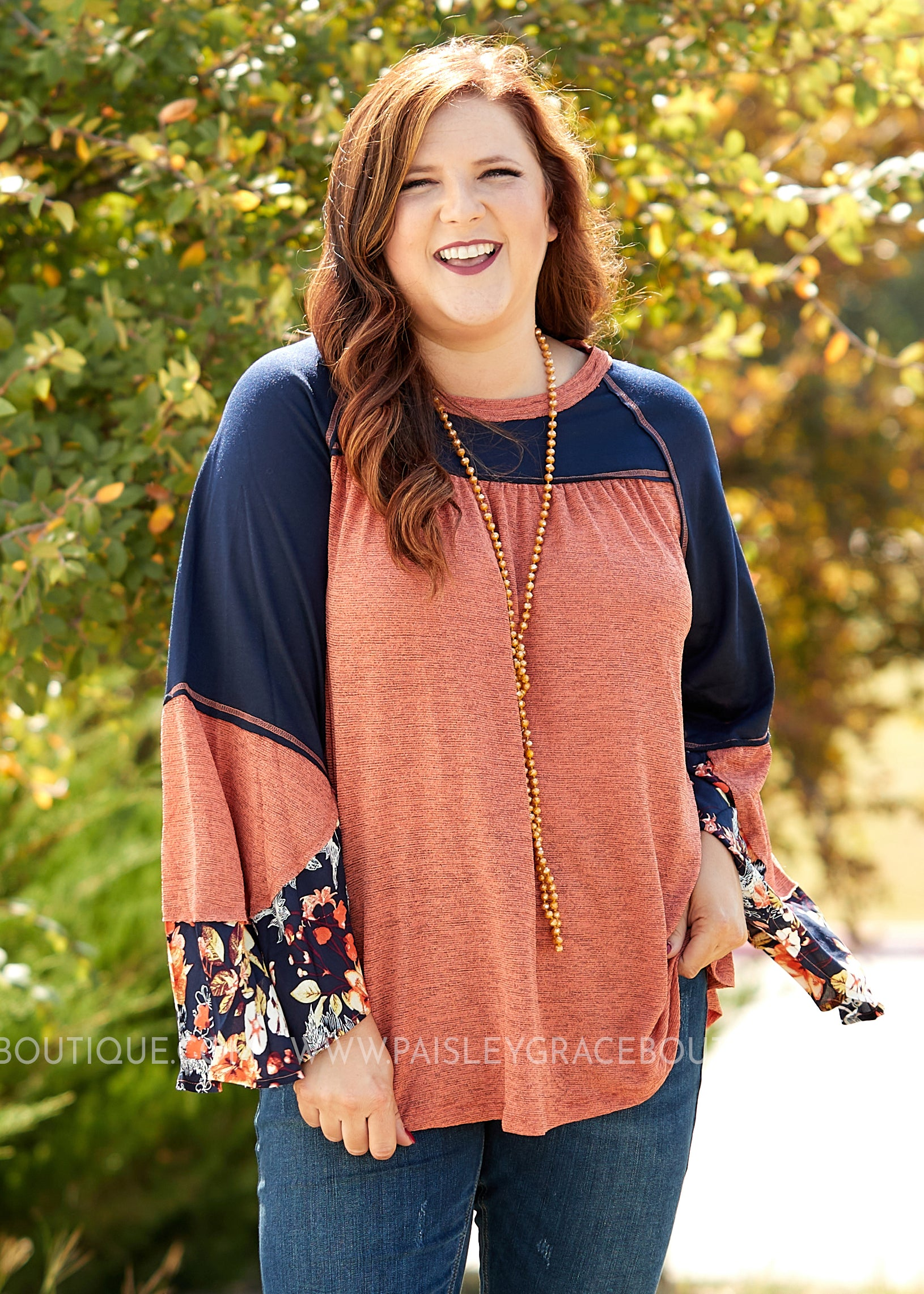 Brielle Top- RUST/NAVY