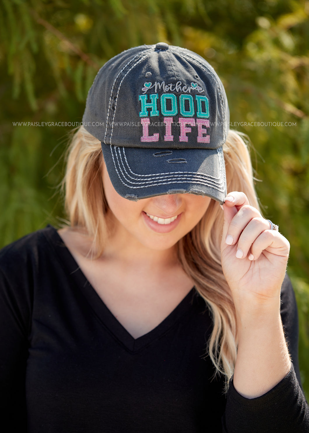 Mother Hood Life Baseball Hat- CHARCOAL