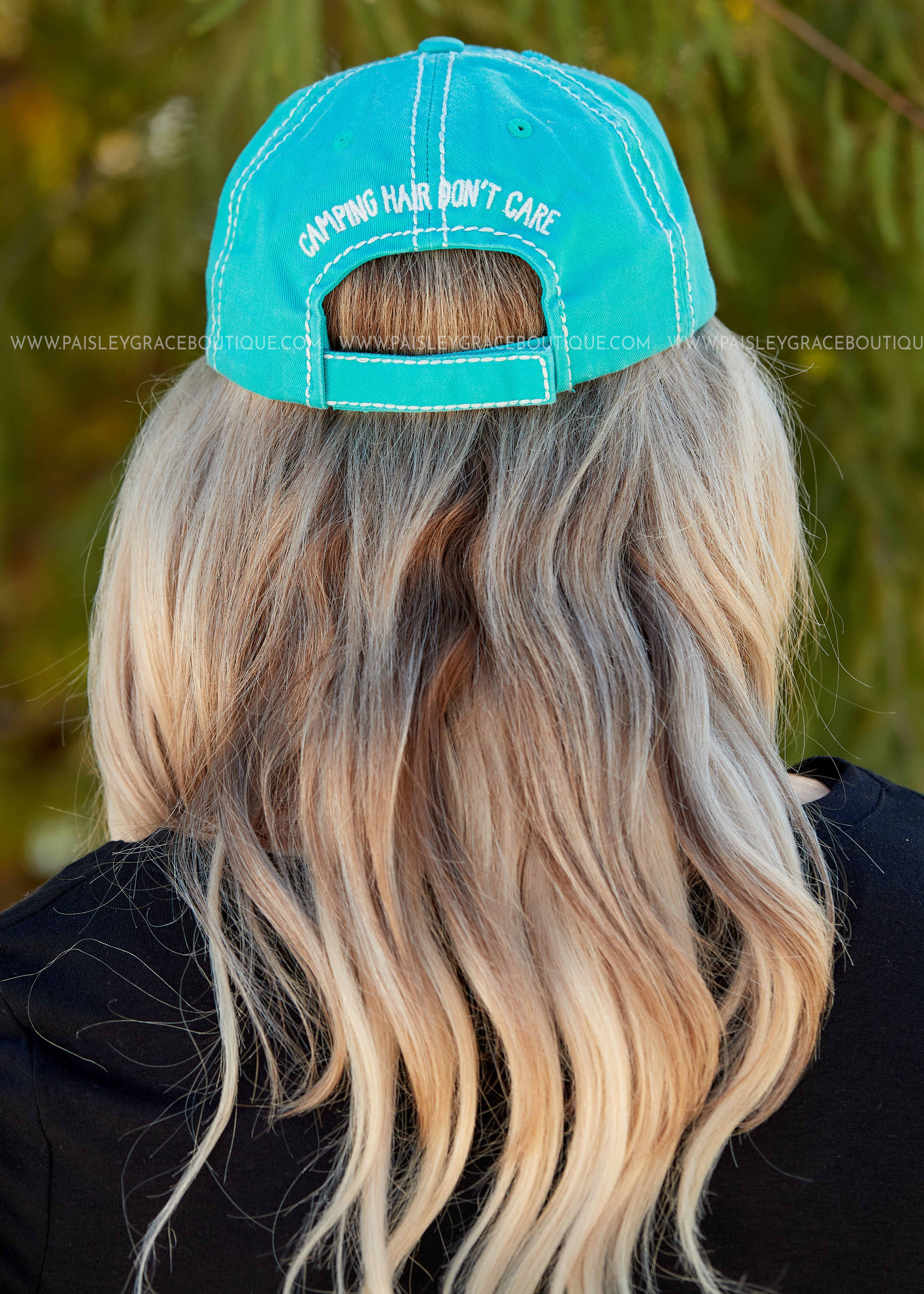 Camping Hair Don't Care Baseball Hat- MINT