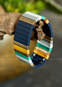 Navy & Gold Stretch Bar Bracelet
