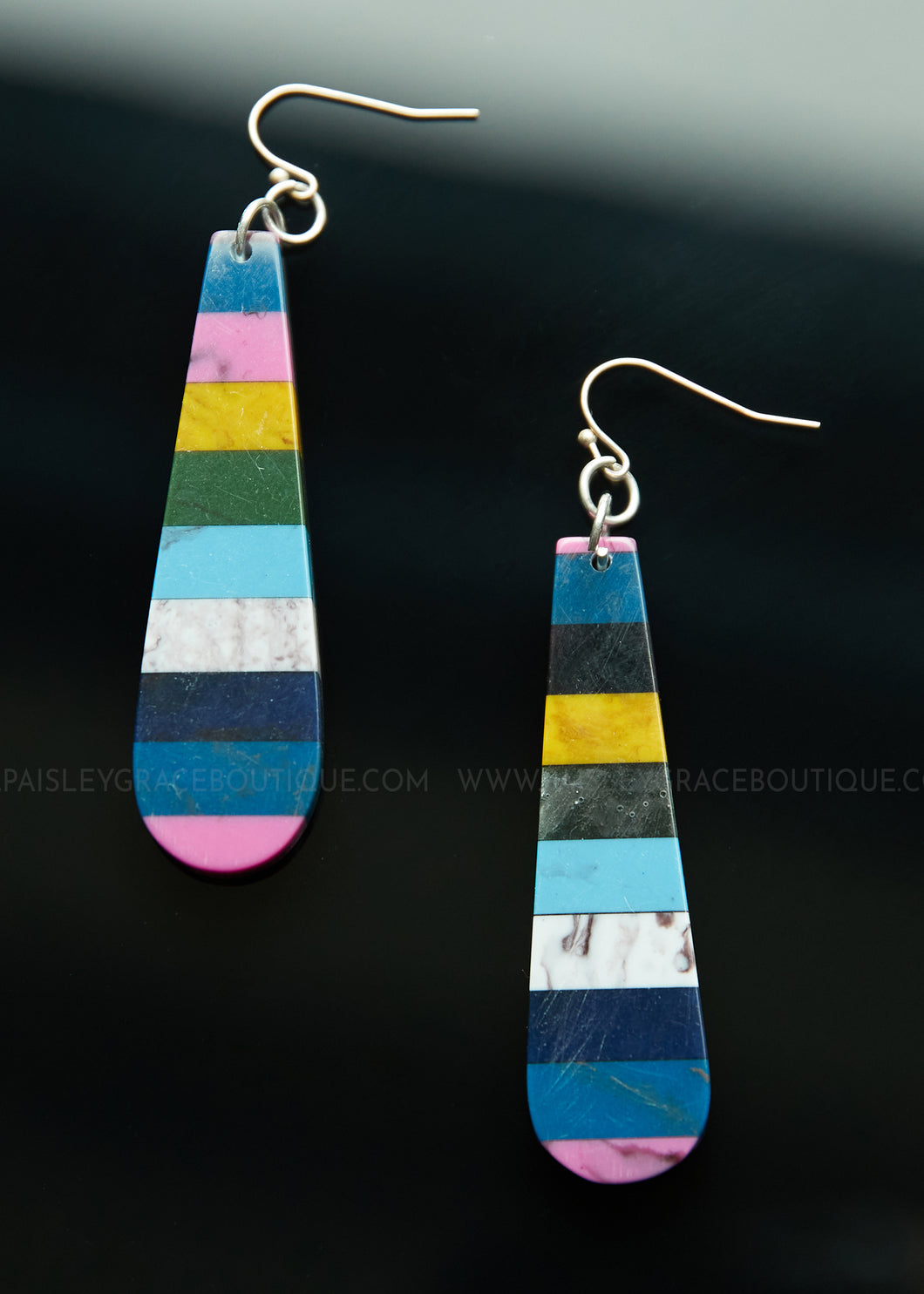 Colorful Stripe Bar Earrings