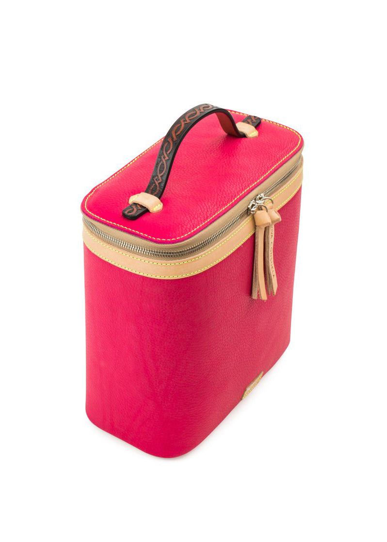 Slim Train Case- Rosa Pink Leather By Consuela
