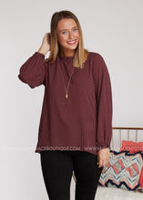 Load image into Gallery viewer, Anastasia Polka Dot Top- BURGUNDY - FINAL SALE