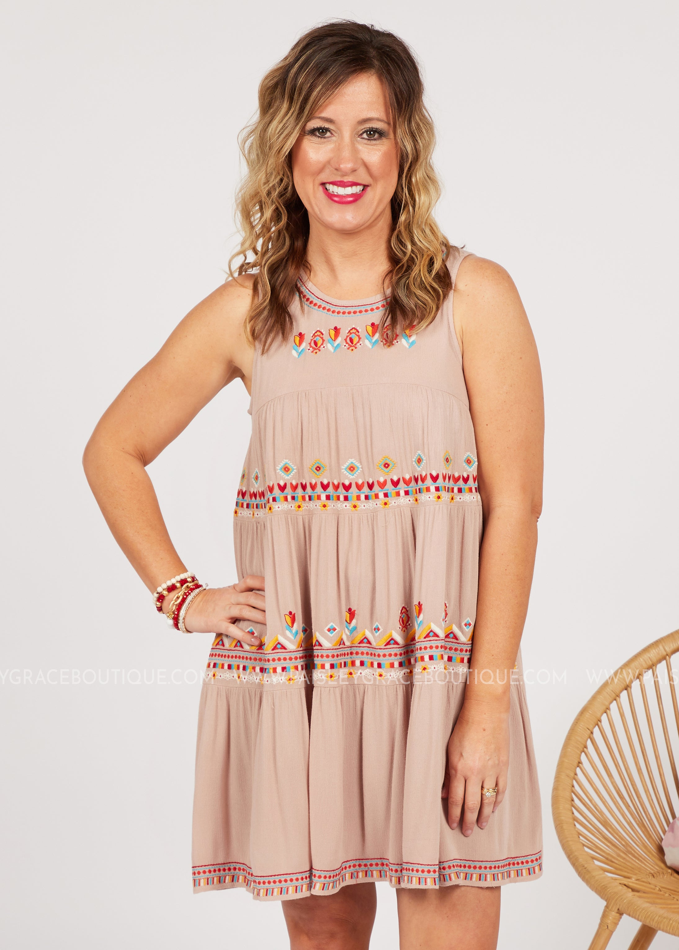 Desert Flame Embroidered Dress - FINAL SALE