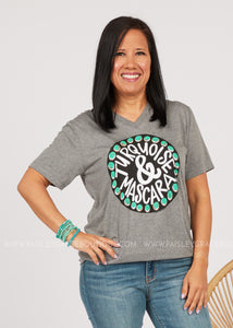 Turquoise and Mascara Tee  - FINAL SALE