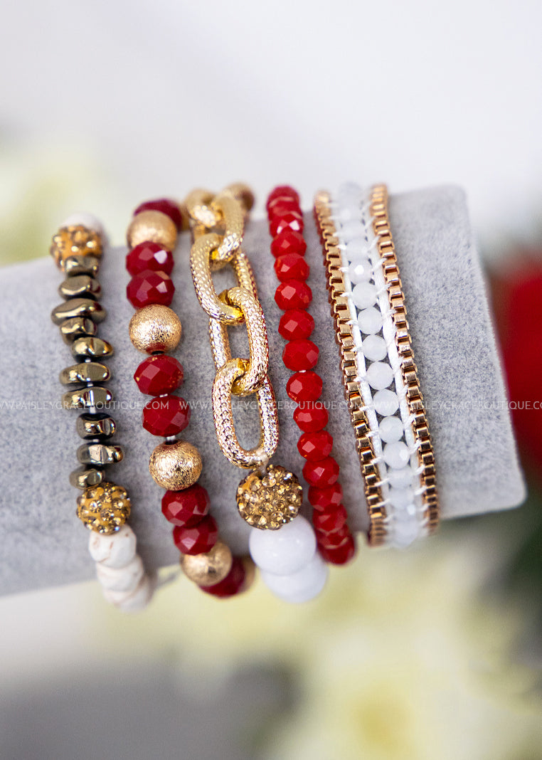 Anchors Away Bracelet Set- Red & Gold