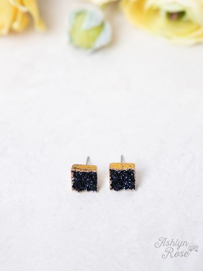 Set To Shine Druzy Stud Earrings, Black