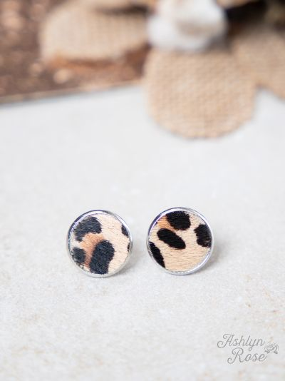 Love In A Little Stud Earrings, Beige Leopard