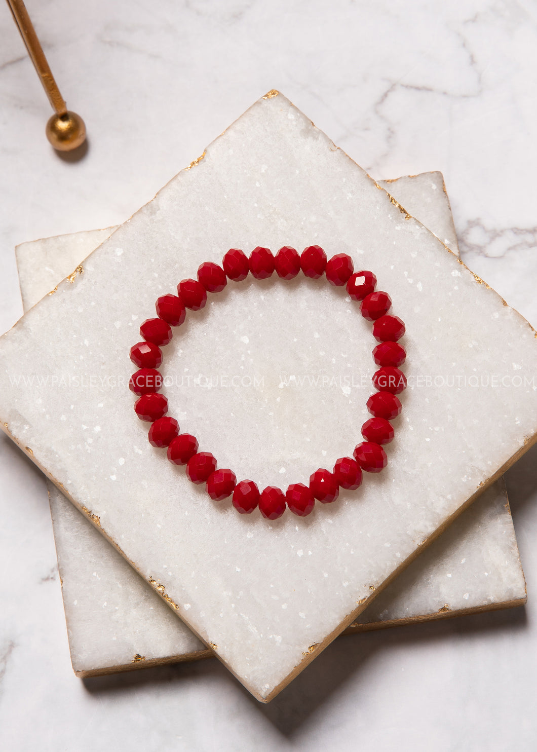 Stretch Layering Bracelet - Lipstick Red