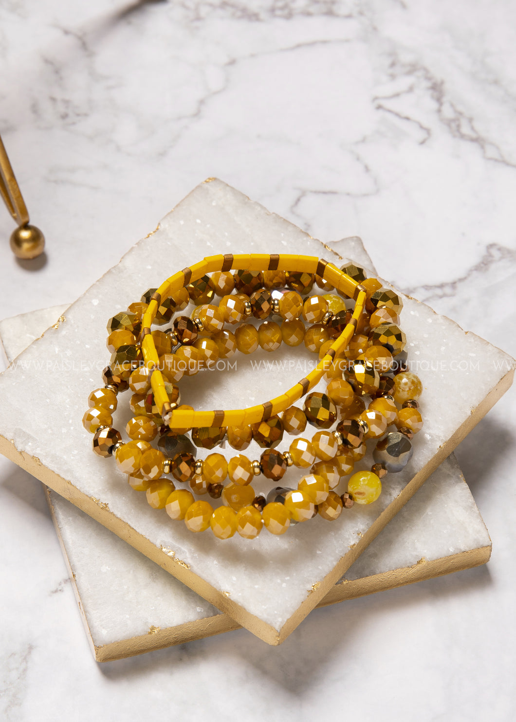 Not-So-Neutral Bracelet Set- Mustard