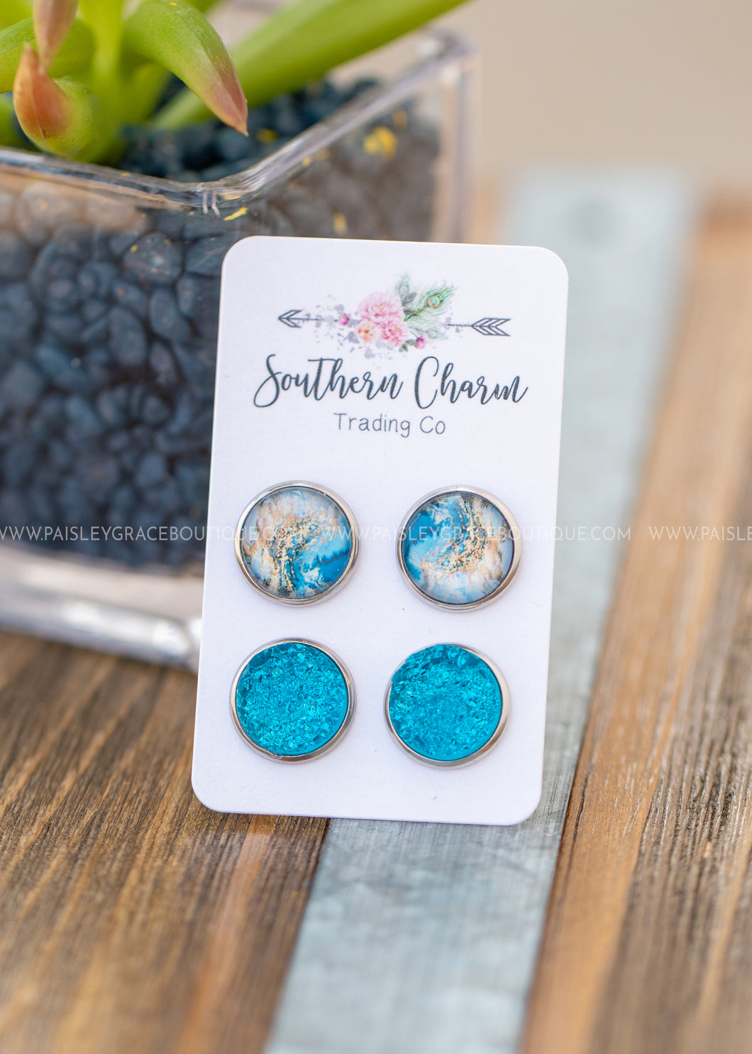 Teal and Teal Marble Earrings