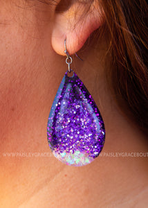 Frameless Glitter Dangle Earrings - PURPLE
