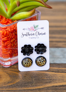 Golden Leopard and Black Flowers
